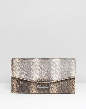 ASOS Slim Ring Detail Metallic Snake Clutch Bag
