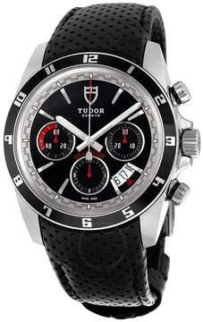 Tudor Grantour Chronograph Automatic Black Dial Black Leather Men's Watch