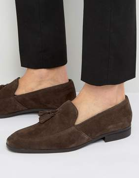 Dune Tassel Loafers In Brown Suede
