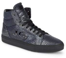 John Galliano Hi-Top Leather Logo Sneakers