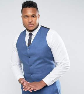 Asos PLUS Wedding Slim Suit Vest in Blue Tonic