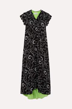 Balenciaga Printed Silk-crepe Midi Dress - Black