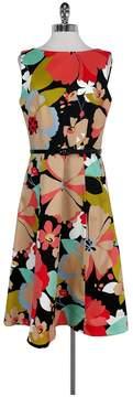 David Meister Floral Print Flared Dress