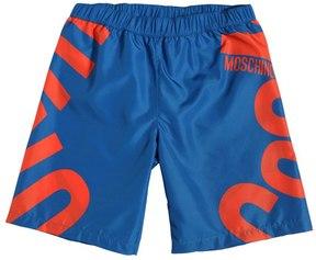 Moschino Logo Printed Nylon Swim Shorts
