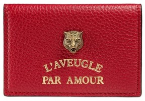 Gucci L'Aveugle Par Amour Leather Card Case - Red - RED - STYLE