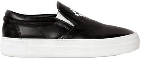 Marcelo Burlon County of Milan Logo Printed Leather Slip-On Sneakers