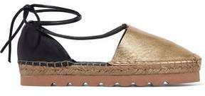 Brunello Cucinelli Lace-Up Smooth And Metallic Leather Espadrilles