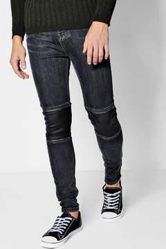boohoo Spray On Skinny Coated Panel Biker Jeans