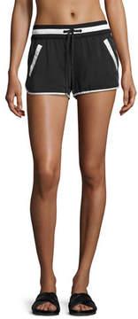 Blanc Noir Venice Silk Drawstring Shorts, Black/White