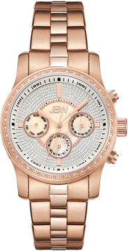 JBW Vixen Mother of Pearl Crystal Dial Rose Gold-tone Bracelet Diamond Bezel Ladies Watch