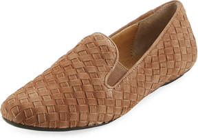 Neiman Marcus Woven Suede Slip-On Loafer, Brown