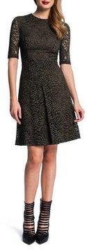 Cynthia Steffe Half-Sleeve Lace Dress W/ Pleat