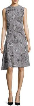 Creatures of the Wind Optic Jacquard Embellished A-Line Dress, Black/White