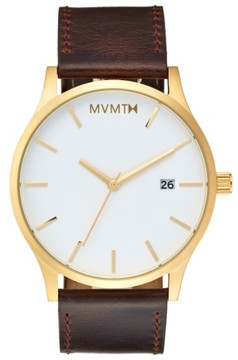 MVMT Men's Leather Strap Watch, 45Mm