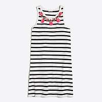 J.Crew Factory Girls' striped pom-pom and gem necklace dress