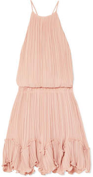 Halston Ruffled Plissé-georgette Mini Dress - Pastel pink