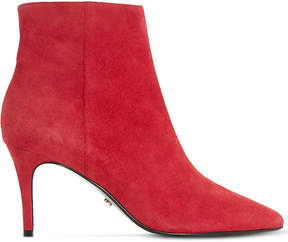 Dune Ladies Red Osha Suede Ankle Boots