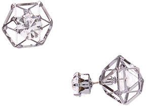 Carole Crystal & Silvertone Geometric Reversible Stud Earrings
