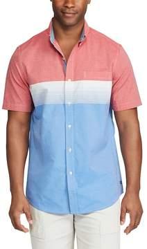Chaps Big & Tall Classic-Fit Colorblock Stretch Poplin Button-Down Shirt