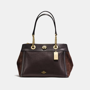 COACH TURNLOCK EDIE CARRYALL IN MIXED LEATHERS - LIGHT GOLD/CHESTNUT