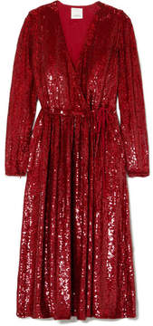 Ashish Sequined Silk-georgette Wrap Dress - Red