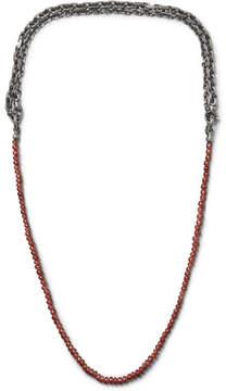 Bottega Veneta Burnished Sterling Silver Garnet Necklace