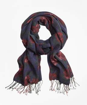 Brooks Brothers Floral Plaid Wool Scarf