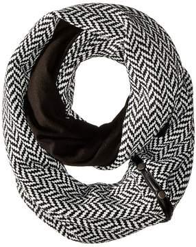 Plush Fleece - Lined Herringbone Snap Scarf Scarves