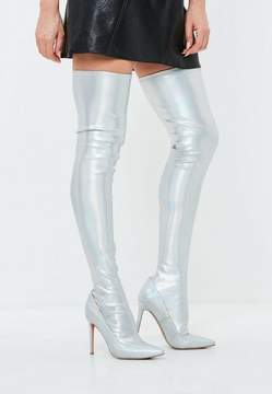 Missguided Silver Iridescent Metallic Thigh High Boots