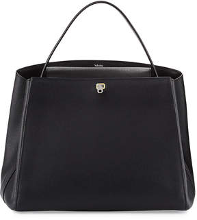 Valextra Triennale Large Leather Top-Handle Bag, Black