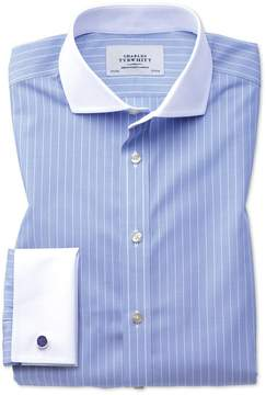 Charles Tyrwhitt Extra Slim Fit Spread Collar Non-Iron Winchester Blue and White Cotton Dress Shirt Single Cuff Size 15.5/35