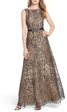 Ellen Tracy Women's Burnout Organza Gown