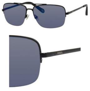 Fossil Metal Navigator Sunglasses 60 0003 Matte Black (AX gray/blue mirror lens)