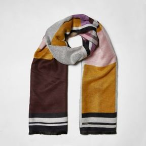 River Island Womens Pink color block blanket scarf