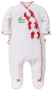 Little Me Girls' My First Christmas Dotted Footie - Baby