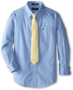 Nautica Long Sleeve Poplin Shirt/Tie Set Boy's Clothing