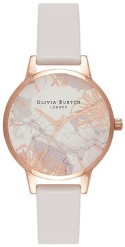 Olivia Burton Women's Abstract Florals Leather Strap Watch, 30Mm