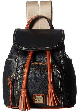 Dooney & Bourke Pebble Small Murphy Backpack Backpack Bags - BLACK/TAN TRIM - STYLE