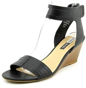 XOXO Shari Women Open Toe Synthetic Black Wedge Sandal.