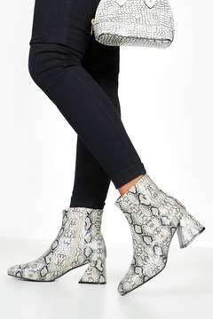 boohoo Snake Low Flare Heel Shoe Boots