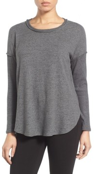 Bobeau Women's Rib Long Sleeve Fuzzy Sweatshirt