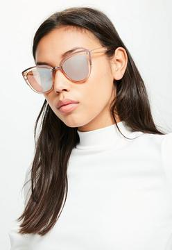 Missguided Pink Metal Frame Cat Eye Sunglasses