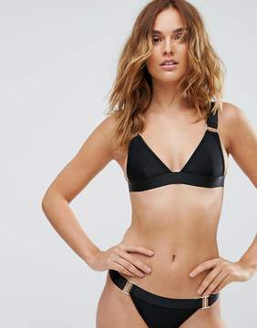 PrettyLittleThing Black Clip Detail Bikini Top