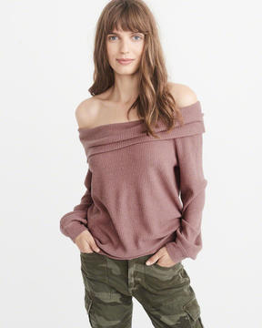 Abercrombie & Fitch Ribbed Off-The-Shoulder Top