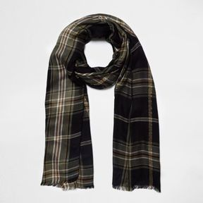 River Island Womens Black check lurex scarf