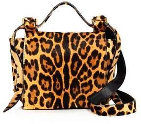 Elena Ghisellini Small Leopard Print Calf Hair Crossbody