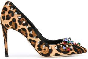 Dolce & Gabbana embellished leopard print pumps