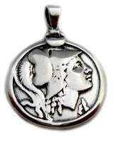 Athena JewelryAffairs Sterling Silver Greek Goddess Pendant.