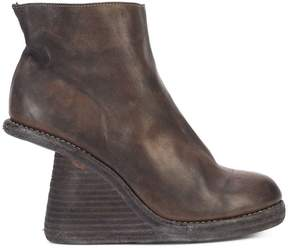 Guidi cut-away stacked wedge boots