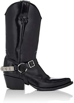 Calvin Klein Women's Embellished-Strap Leather Cowboy Boots